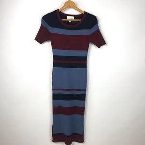 Olive + Oak Blue Striped Ribbed Sweater Dress Sz S
